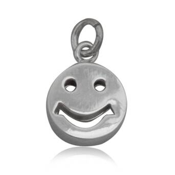 Pendant silver round Smiley Face 3D