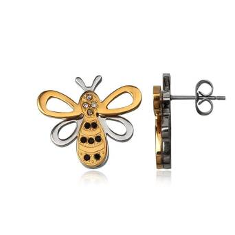 Earrings Steel Bee Gold Plated with Zirconia