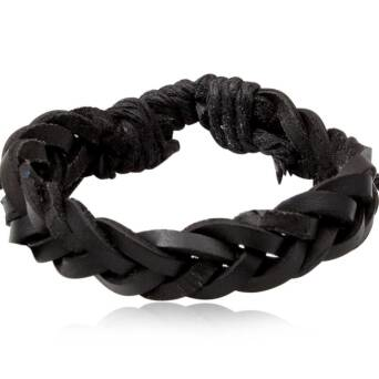 Black leather straps bracelet