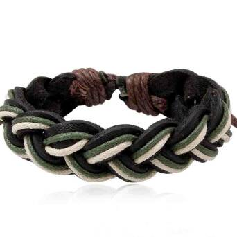 Bracelet leather man black with twines