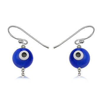 Earrings silver Evil Eye dark blue