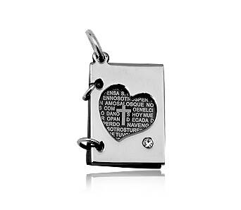 Steel pendant Book with heart