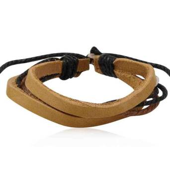 Bracelet leather man light brown