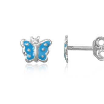 Silver earrings for girl Blue Butterfly