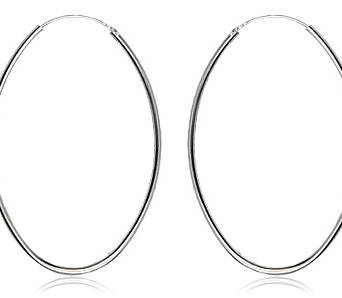 Silver earrings big oval
