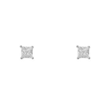 Silver earrings man bling with white CZ 4 mm
