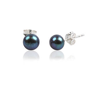 Earrings silver with black pearl 10 mm