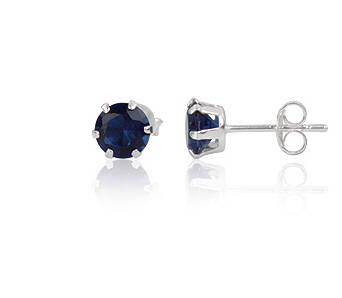 Silver earrings cubic zirconia round 6 mm blue sapphire