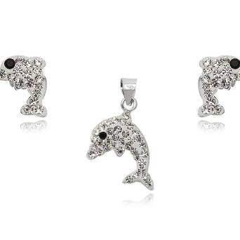 Silver set for children with Preciosa Crystals DOLPHINS