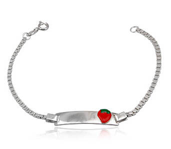 Bracelete Silver for chidren with Red Strawberry