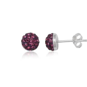 Silver earrings Preciosa Crystals half-bead purple