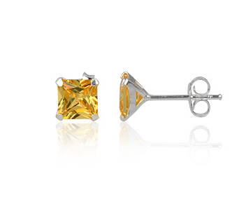 Earrings silver cubic zirconia square 6 mm yellow