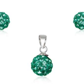 Silver set small beads Preciosa green