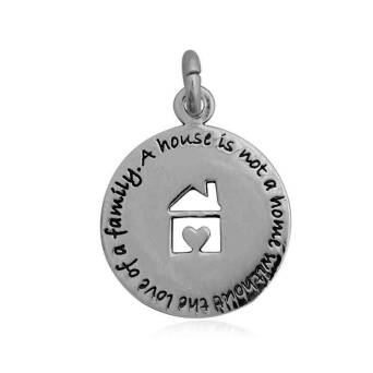 Pendant silver round family home