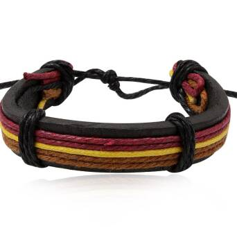 Leather black bracelet with colour twines