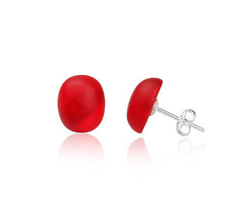 Earrings silver with Euroglass Red Oval