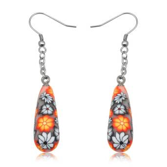 Earrings steel and FIMO Flowers orange-black