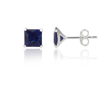 Silver earrings CZ square 6 mm navy blue