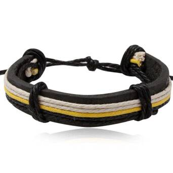 Leather bracelet black with twines