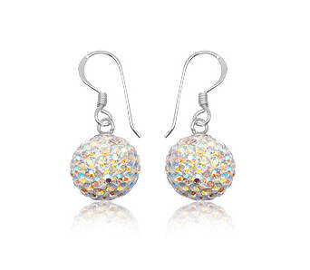 Silver Preciosa Crystals  Earrings Bead Hook Ab Colour