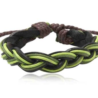 Bracelet leather man black with green twines