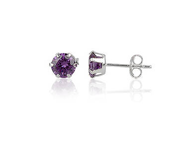 Silver earrings purple cubic zirconia small