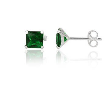 Silver earrings cubic zirconia square 6 mm green