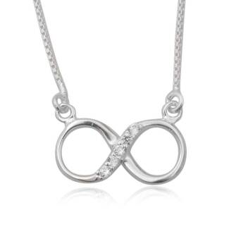 Silver necklace infinitive directioner cubic zirconia