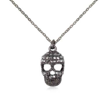 Pendant black skull with crystals