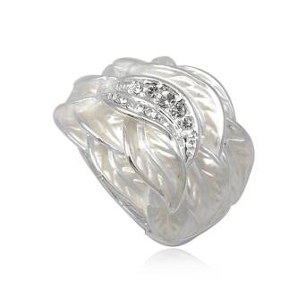 Fashion ring Black Enamel Leaves with Crystal Duplicate-1