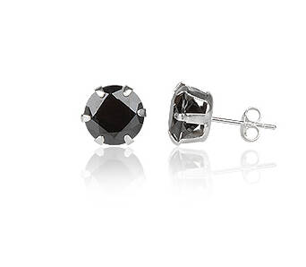 Silver earrings cubic zirconia round 8 mm black