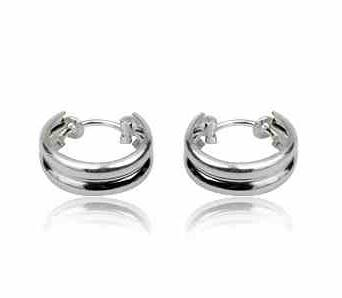 Earrings silver hoops wide twins 14 mm