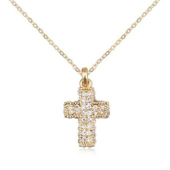 Pendant gold cross with crystals