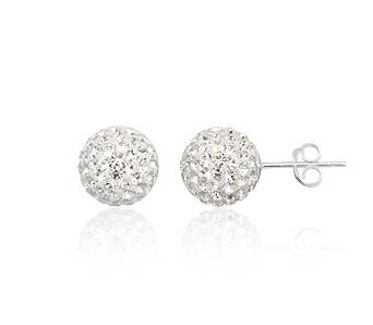 Earrings silver Preciosa Crystal beads white