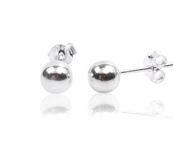 Silver Earrings Beads 8 mm