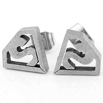 Earrings steel man stud Superman