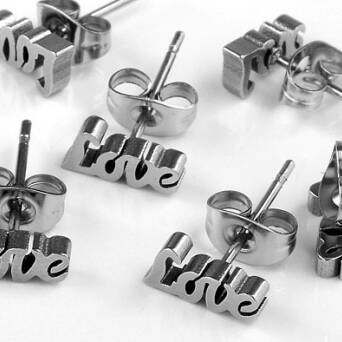 Steel earrings Love logo