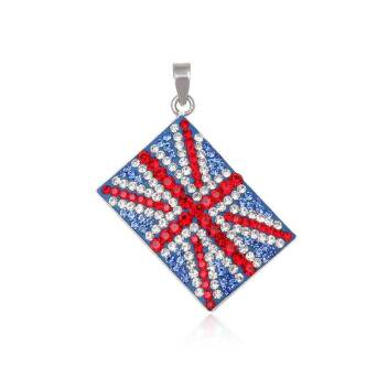 Pendant silver and Preciosa Crystal flag UK