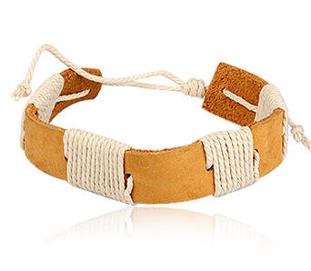 Leather bracelet man Light Brown