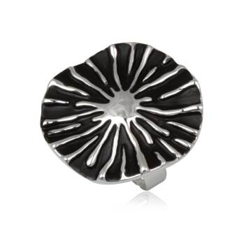 Fashion ring black Wavy Circle