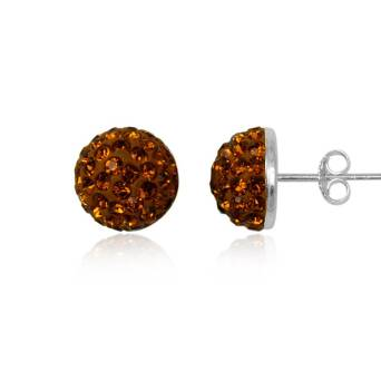 Silver earrings Preciosa Crystals half-bead 10 mm Brown Caramel