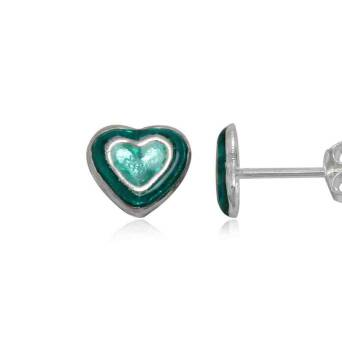 Silver earrings for girl green hearts