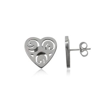 Earrings Steel Big Hearts Openwork