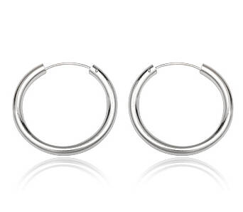 Silver earrings hoops 19 mm