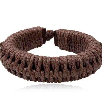 Bracelet leather man brown twines