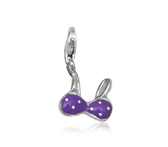 Silver Charms Enamel Purple Bra