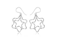 Earrings silver Double Stars
