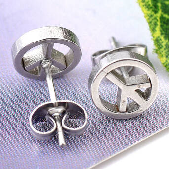 Steel earrings Peace logo