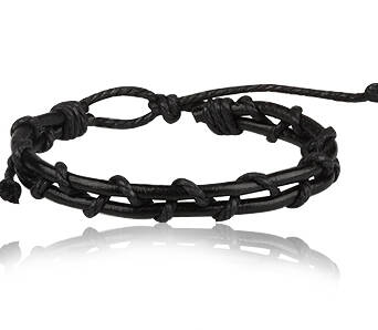 Black leather bracelet with twines