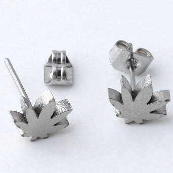 Steel earrings man marihuana leaf